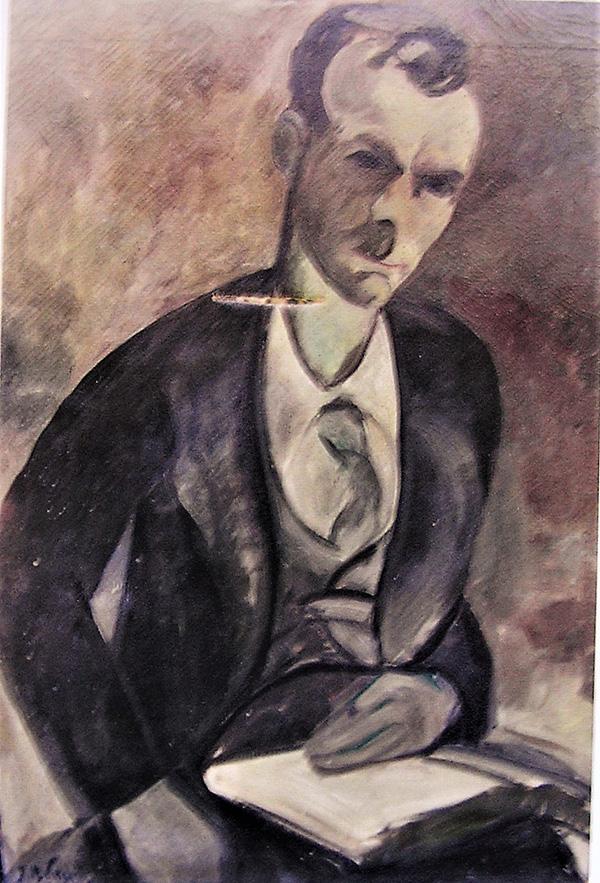 Čovjek s knjigom, ulje na platnu, 1921