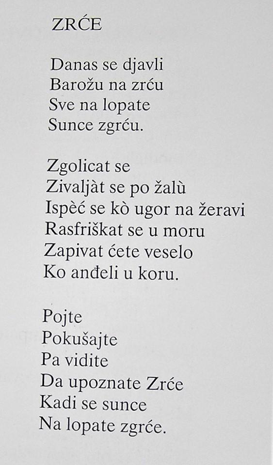 Pjesma Zrće, preuzeto iz monografije